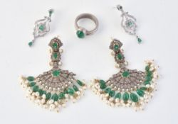 A pair of emerald, freshwater cultured pearl and diamond chandelier earrings