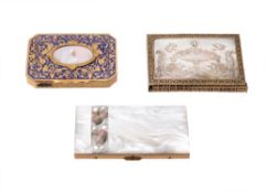 Y A French brass mounted mother of pearl notebook case
