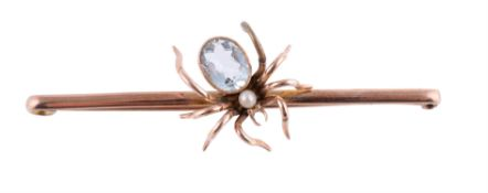 An Edwardian aquamarine and pearl spider brooch