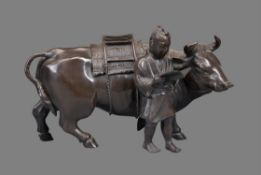 A Japanese Bronze Model of an Ox