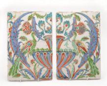 A pair of Iznik style tiles