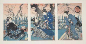 Utagawa Kunisada (Toyokuni III): Nine woodblock printed ukiyo-e triptychs