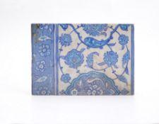 An Iznik rectangular pottery tile