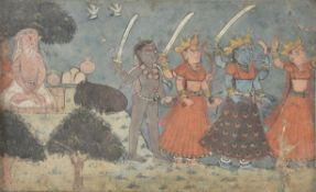 Three goddesses with Siva and a holy man