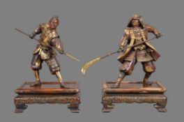 Gyokko: Two Japanese Parcel Gilt Bronze Figures of Warriors
