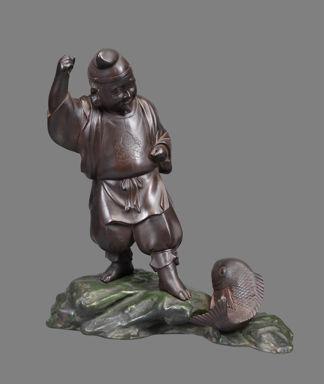 Lot 77 - A Japanese Bronze Figure of Ebisu