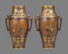 Style of Eisuke Miya-O: A Pair of Parcel Gilt Bronze Vases