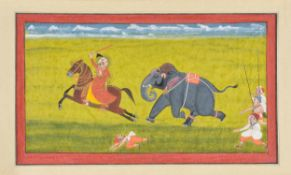 Maharana Ari Singh fleeing from an elephant running amok