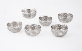 A set of six Chinese silver pierced bowls