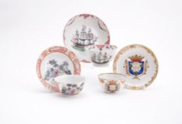 Three Chinese export famille rose tea bowls and saucers