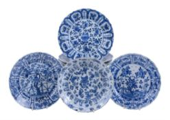 Seven Chinese blue and white plates