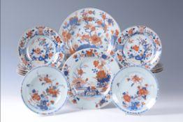 A set of nine Chinese Imari plates