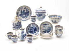 Two part Chinese blue and white part tea and coffee Services