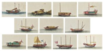 A group of twelve Chinese export paintings on pith paper
