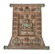Y A Nepalese inlaid silver coloured Thangka