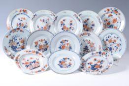 Eight Chinese Imari plates