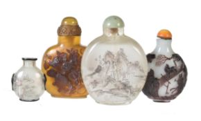 Y A group of four Chinese snuff bottles