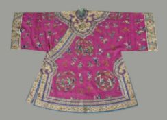 An attractive Chinese magenta silk damask Han Chinese women's robe