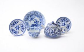 A Chinese blue and white 'Shipwreck' tea pot and cover