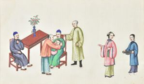 † Six Chinese pith paintings