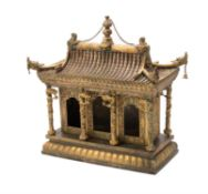 A large and unusual Chinese gilt metal temple model