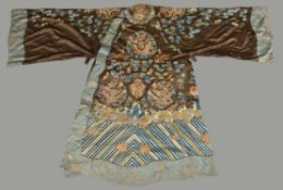 A Chinese embroidered chestnut silk Peking opera robe