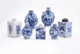 Two square Chinese blue and white tea caddies