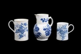 Three items of Worcester blue and white printed porcelain