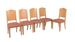 David Linley, Pimlico, a set of ten bird's-eye sycamore and American walnut inset dining chairs
