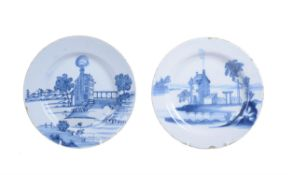Two similar English delft blue and white plates
