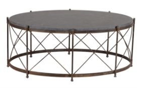 A wrought iron low centre table
