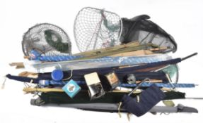 A mixed assortment of fishing rods