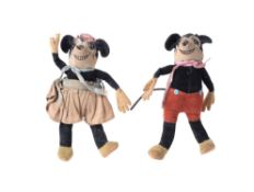 Deans Rag Book Co., a felt and plush Mickey and Minnie Mouse