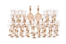 A Venetian pale-amber tint glass part table service