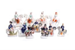 A group of Staffordshire equestrian figures