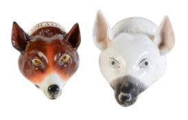 Two Staffordshire bone china fox mask stirrup cups
