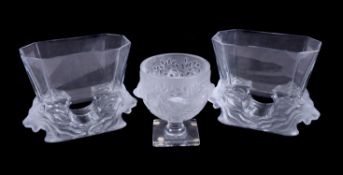 Lalique, Cristal Lalique, Venise, a pair of clear and frosted vases