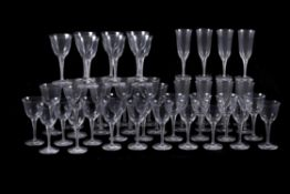 Lalique, Cristal Lalique, Treves, a clear glass table service of wine glasses