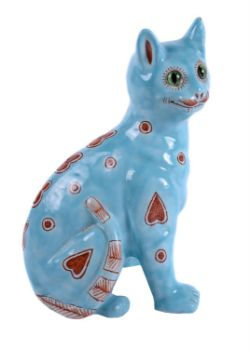 A Mosanic faience pottery model of a seated cat
