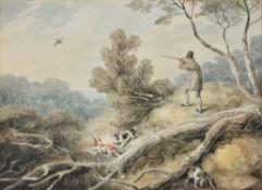William Samuel Howitt (British 1756-1822), Shooting with three spaniels