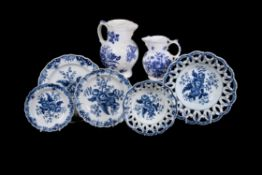 A selection of English blue and white printed 'Pinecone' pattern porcelain