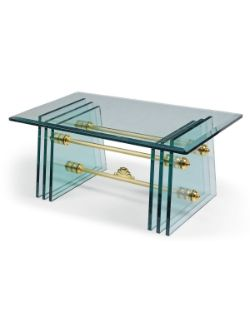 An Italian glass and metal coffee table