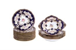A Royal Crown Derby blue-ground and gilt part dessert service painted with flowers