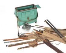 A collection of eight various fishing rods