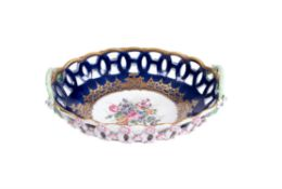 A Worcester blue-ground and gilt pierced-oval two-handled basket