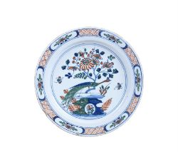 A Bristol delft polychrome chinoiserie charger