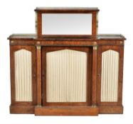 A Regency rosewood and gilt metal mounted breakfront side cabinet