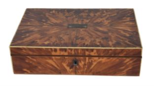 A Victorian tortoiseshell veneered work box