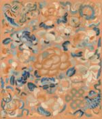 A pair of embroidered rust silk panels from a Han Chinese skirt