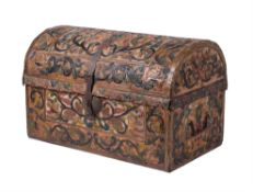 An embossed leather trunk, probably Spanish, in late 17th century style